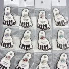 Sparkle 12 PC Austrian Crystals Enamel PIANO Invisible PETITE Toe Rings