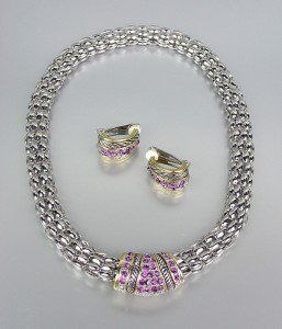 Designer Style Amethyst Pav'e Crystals Silver Mesh Chain Necklace Earrings Set