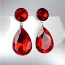GLITZY SHIMMER Ruby Red Czech Crystals Bridal Queen Pageant Prom Earrings