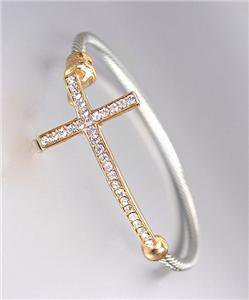CLASSIC Designer Style Gold CZ Crystals Cross Silver Cable Bracelet