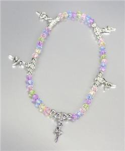 ADORABLE Multicolor Acrylic Beads Silver BALLERINA Charms Stretch Anklet