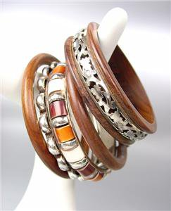 CHIC 5 PC Natural Brown Wood Silver Brass Horn Resin Bangle Bracelet