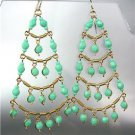 STUNNING Turquoise Crystal Beads Gold Chandelier Dangle Peruvian Earrings B94-1