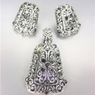 CLASSIC Brighton Bay Silver Filigree Marcasite CZ Pendant Enhancer Earrings Set