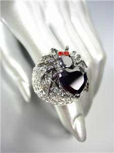 STUNNING 18kt White Gold Plated Chunky Black Widow Spider Black CZ Crystals Ring