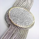 Designer Style Silver Cable Gold Pave CZ Crystals Chains Magnetic Clasp Bracelet