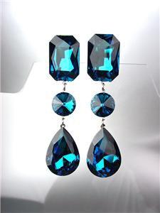 GLITZY Blue Zircon Czech Crystals LONG Bridal Queen Pageant Prom CLIP Earrings