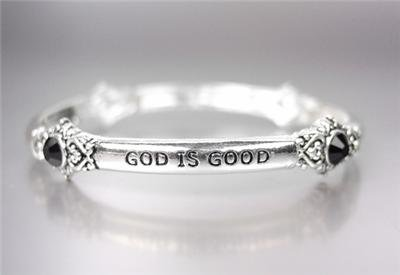 INSPIRATIONAL Silver GOD IS GOOD ALL THE TIME Black Crystals Stretch Bracelet