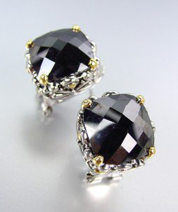 Designer Style Silver Gold Balinese Filigree Black Onyx CZ Crystal Earrings