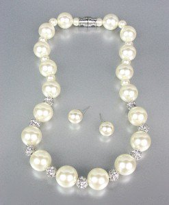 CLASSIC Creme Pearls Pave CZ Crystals Balls Necklace Earrings Set Bridal