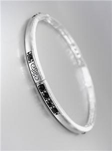 Classic NEW Brighton Bay Silver Filigree Black CZ Crystals Stretch Bracelet #39