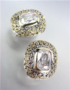 GORGEOUS Designer Style Balinese Silver Gold Clear Topaz CZ Crystal Earrings