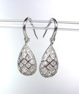 CLASSIC 18kt White Gold Plated Micro Pave CZ Crystals Dangle Petite Earrings