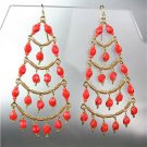 STUNNING Coral Red Crystal Beads Gold Chandelier Dangle Peruvian Earrings B94-2