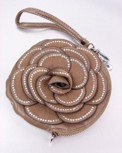 Stylish Khaki Crystals Encrusted Flower Round Clutch Bag Purse