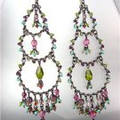 EXQUISITE Multicolor Crystals Antique Metal Chandelier Dangle Peruvian Earrings