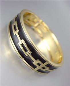 CLASSIC Designer Style Gold Black Lacquer Enamel Chain Hinged Bangle Bracelet