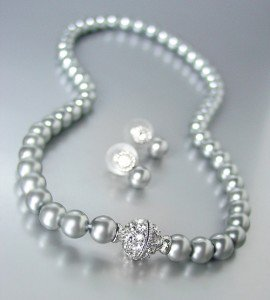 Designer Inspired Gray Pearls Magnetic Eternity Pave CZ Crystals Necklace Set