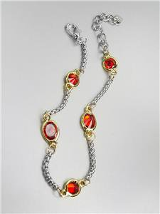 GORGEOUS Designer Style Silver Box Chain Cable Garnet Red CZ Crystals Bracelet