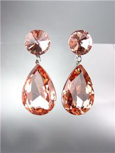 GLITZY SHIMMER Light Peach Czech Crystals Bridal Queen Pageant Prom Earrings