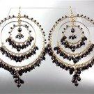 STUNNING Black Onyx Crystal Beads Gold Chandelier Dangle Peruvian Earrings 40BK