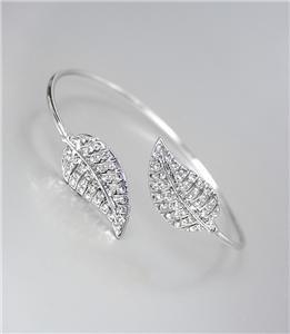 DESIGNER CHIC Silver CZ Crystals Leaf LEAVES Thin Cuff Bracelet
