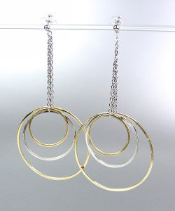 Sex and the City Style Silver Gold Metal Rings Drape Dangle Earrings