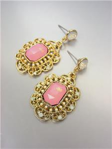 GORGEOUS Downton Abbey Style Pink Aventurine Gold White Opal Crystals Earrings
