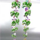 STUNNING Peridot Green Iridescent Czech Crystals WATERFALL Dangle Earrings