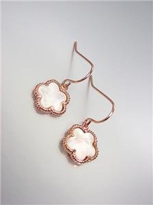 ELEGANT 18kt Rose Gold Plated Mother Pearl Shell CLOVER Petite Dangle Earrings
