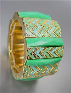 EXPRESSIVE Aqua Blue Green Acrylic Crystals Chevron Enamel Gold Stretch Bracelet