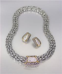Designer Style Pave CZ Crystals Silver Gold Barrel Mesh Necklace Earrings Set
