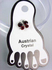 ADORABLE Garnet Red Austrian Crystal BUTTERFLY Invisible PETITE Toe Ring