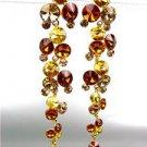 STUNNING Brown Topaz Citrine Czech Crystals WATERFALL Dangle Earrings