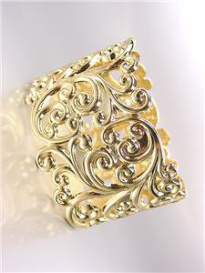 GORGEOUS Brighton Bay Gold Filigree Texture Oval Hinged Bangle Bracelet
