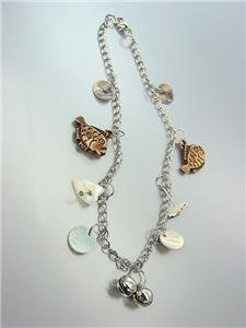 ADORABLE Silver Chain FISH FISHES Sea Shells Bells Charms Anklet