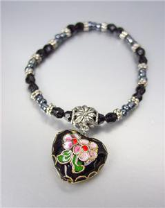 DECORATIVE Black Multi Cloisonne Enamel Heart Charm Beads Stretch Bracelet