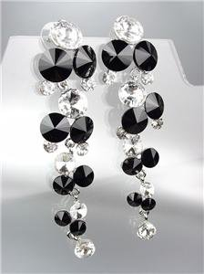 EXQUISITE Black Clear Czech Crystals WATERFALL Long Dangle Earrings