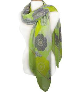 EXPRESSIVE Silky Lightweight Gray Black White Floral Apple Green Fashion Scarf
