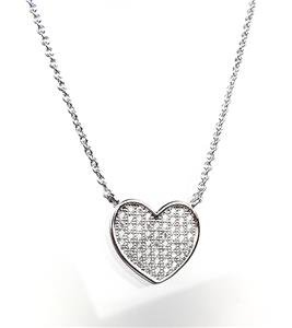 CHIC 18kt White Gold Plated CZ Crystals HEART Pendant Petite Dainty Necklace