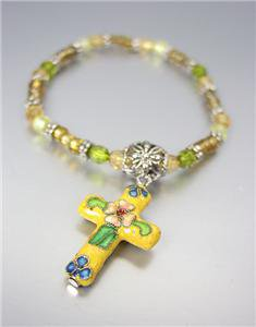 DECORATIVE Yellow Multi Cloisonne Enamel Cross Charm Beads Stretch Bracelet