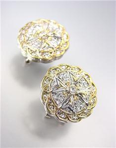 NEW Designer Silver Gold Filigree CZ Crystals Maltese Cross Omega Post Earrings