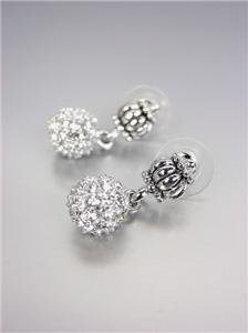 CLASSIC Designer Style Pave CZ Crystals Eternity Ball Caviar Glacier Earrings