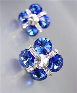 GLITZY Sapphire Blue Czech Crystals Bridal Prom Pageant Queen CLIP Earrings