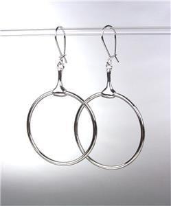 CHIC Designer Inspired Silver Horsebit Ring Dangle Earrings