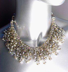STUNNING Glitzy Urban Anthropologie Smoky Czech Crystals Clusters Drape Necklace
