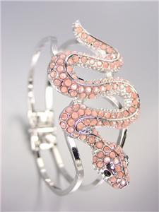 EXOTIC CHIC Designer Light Coral Crystals Snake Silver Hinged Bangle Bracelet