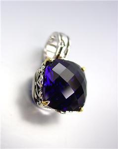 Designer Style Silver Gold Balinese Filigree Sapphire Blue CZ Crystal Pendant
