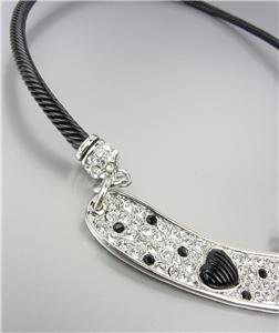 Designer Style Black Cable Pave Crystals Black Cable Heart Choker Necklace
