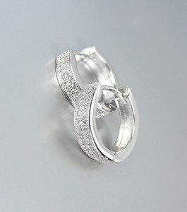 CLASSIC 18kt White Gold Plated Micro Pave CZ Crystal Petite Huggie Hoop Earrings